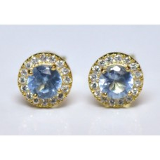 Cubic Zirconia Gold Plated Sterling Silver Stud Earrings with Light Sapphire