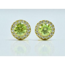 Cubic Zirconia Sterling Silver Peridot Stud Earrings
