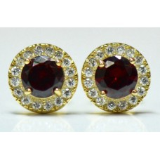 Cubic Zirconia Gold Plated Sterling Silver Stud Earrings with Garnet