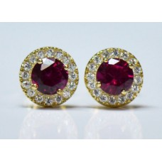 Cubic Zirconia Gold Plated Sterling Silver Stud Earrings with Ruby