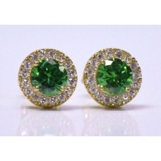 Cubic Zirconia Gold Plated Sterling Silver Stud Earrings with Emerald