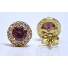 Cubic Zirconia Gold Plated Sterling Silver Siam Stud Earrings