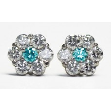 Cubic Zirconia Stud Earrings with Aquamarine CZ in Gold Plated Sterling Silver