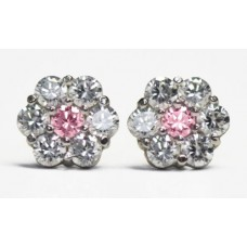 Cubic Zirconia Stud Earrings with Light Rose CZ in Gold Plated Sterling Silver