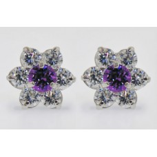Amethyst CZ .925K Sterling Silver Ladies Cluster Stud Earrings