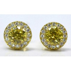 Cubic Zirconia Gold Plated Sterling Silver Stud Earrings with Light Topaz