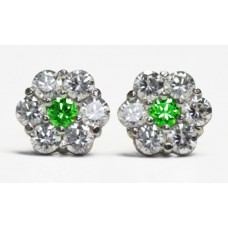 Cubic Zirconia Stud Earrings with Emerald in White Gold Plated Sterling Silver