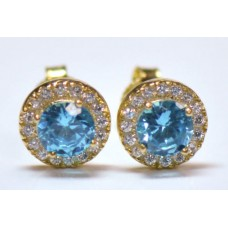 Cubic Zirconia Gold Plated Sterling Silver Stud Earrings with Aquamarine
