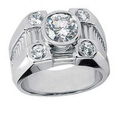 Men's 1.70 ct. Round Cut Diamond Five Stone Pinky Ring in 14 kt Bezel Set